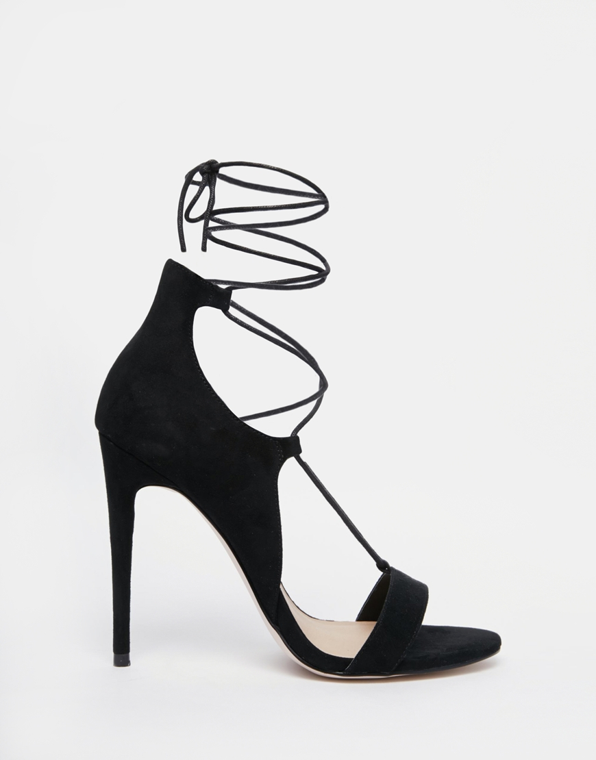 Lyst - Asos Have A Blast Wide Fit Lace Up Heeled Sandals in Black