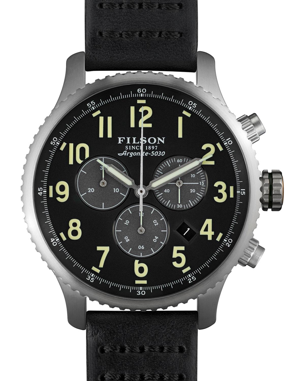 filson 43mm mackinaw field chrono with leather