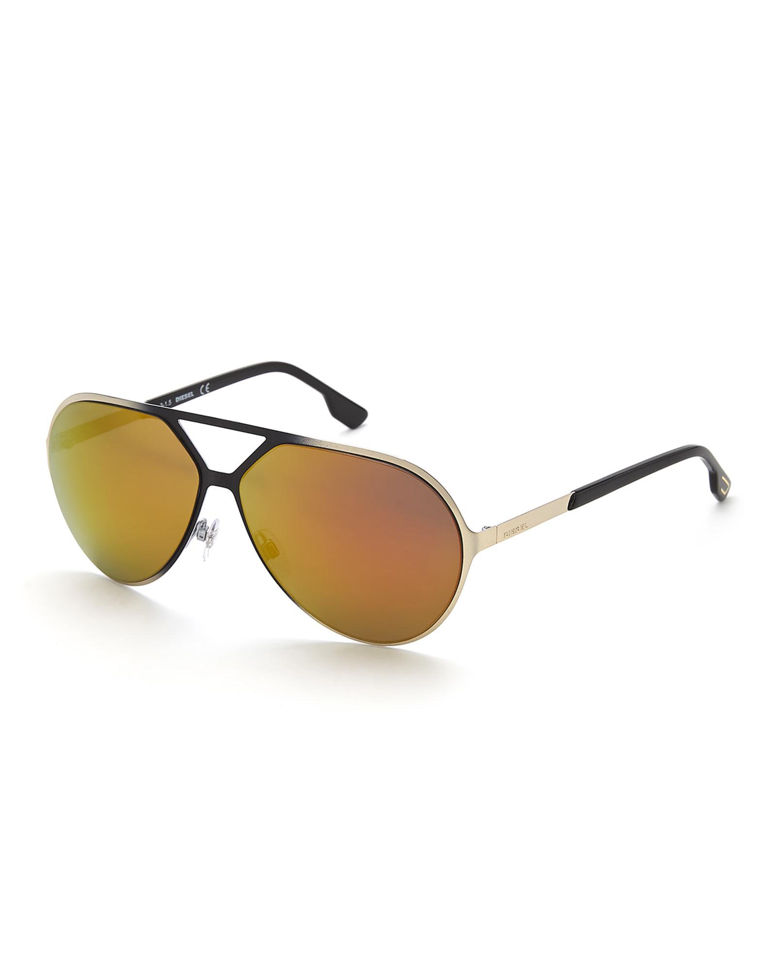 Diesel Light Gold-Tone Dl0114 Aviator Sunglasses in ...