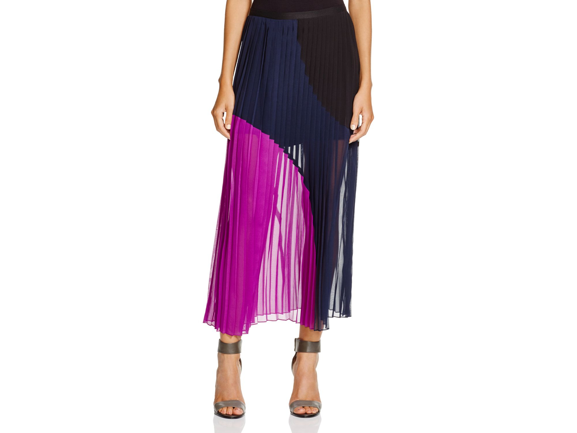 dkny color block pleated maxi skirt in purple lyst