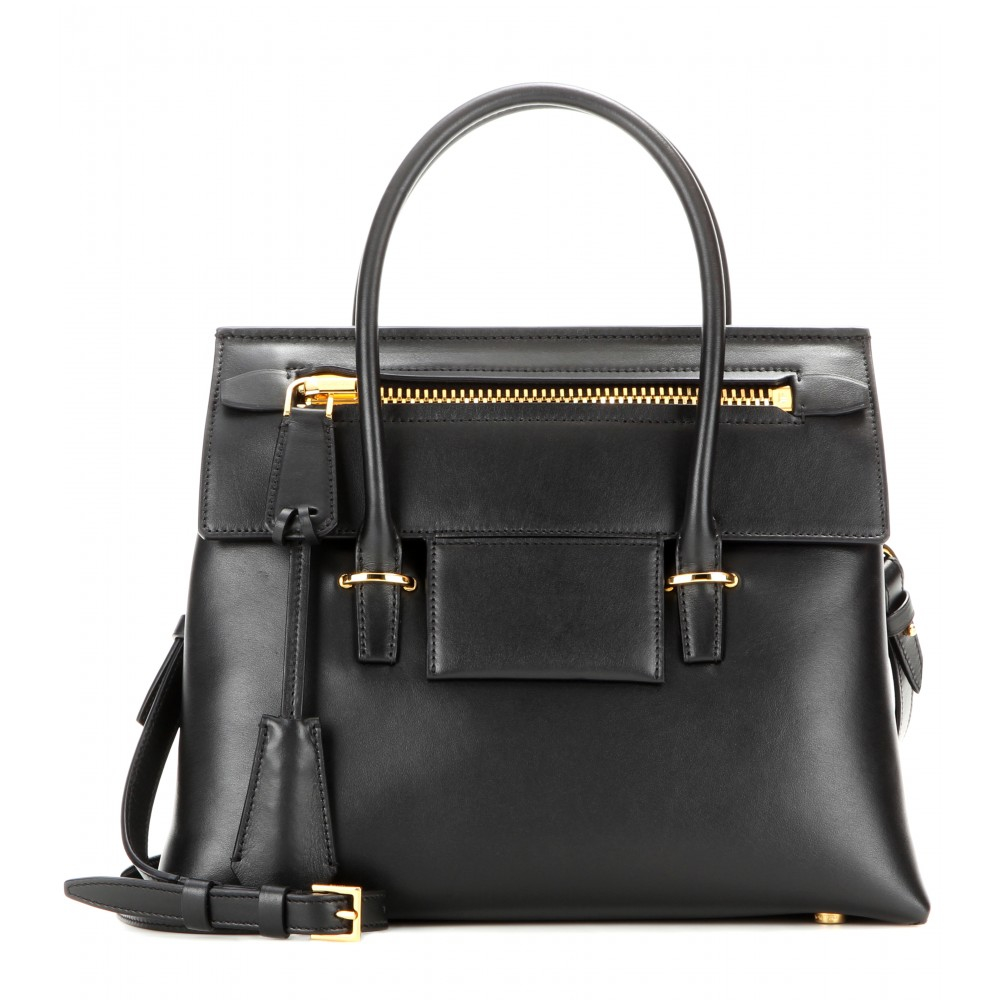 lyst tom ford icon small leather tote in black. Black Bedroom Furniture Sets. Home Design Ideas