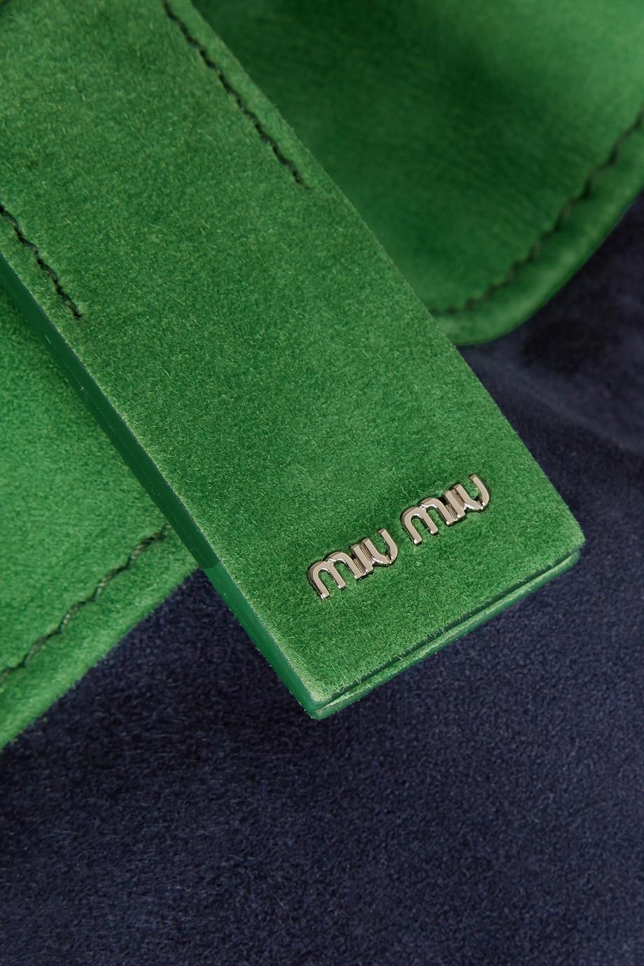 Miu Miu Camoscio Two-Tone Suede Tote in Blue