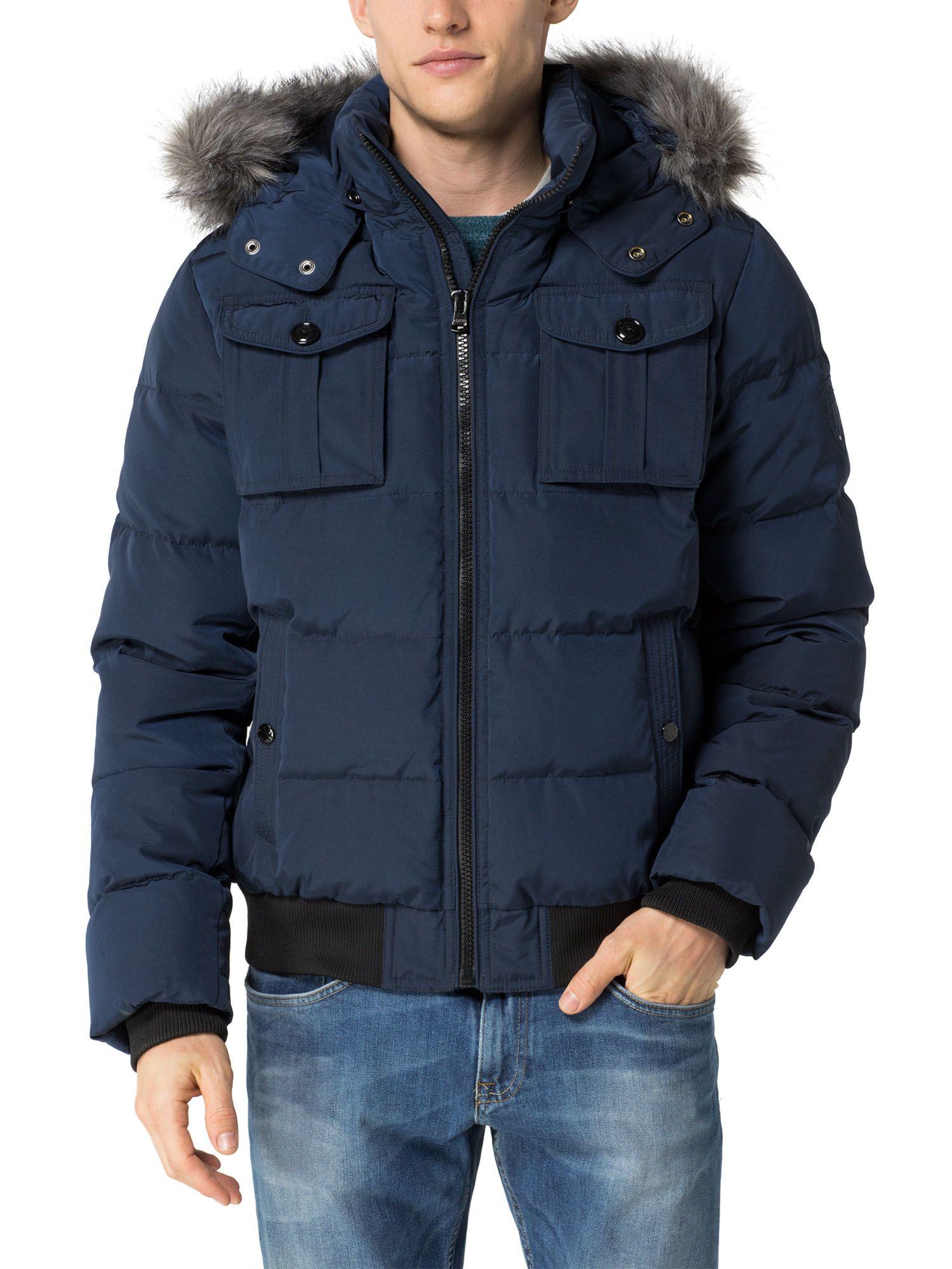 lyst tommy hilfiger darren bomber jacket in blue for men. Black Bedroom Furniture Sets. Home Design Ideas