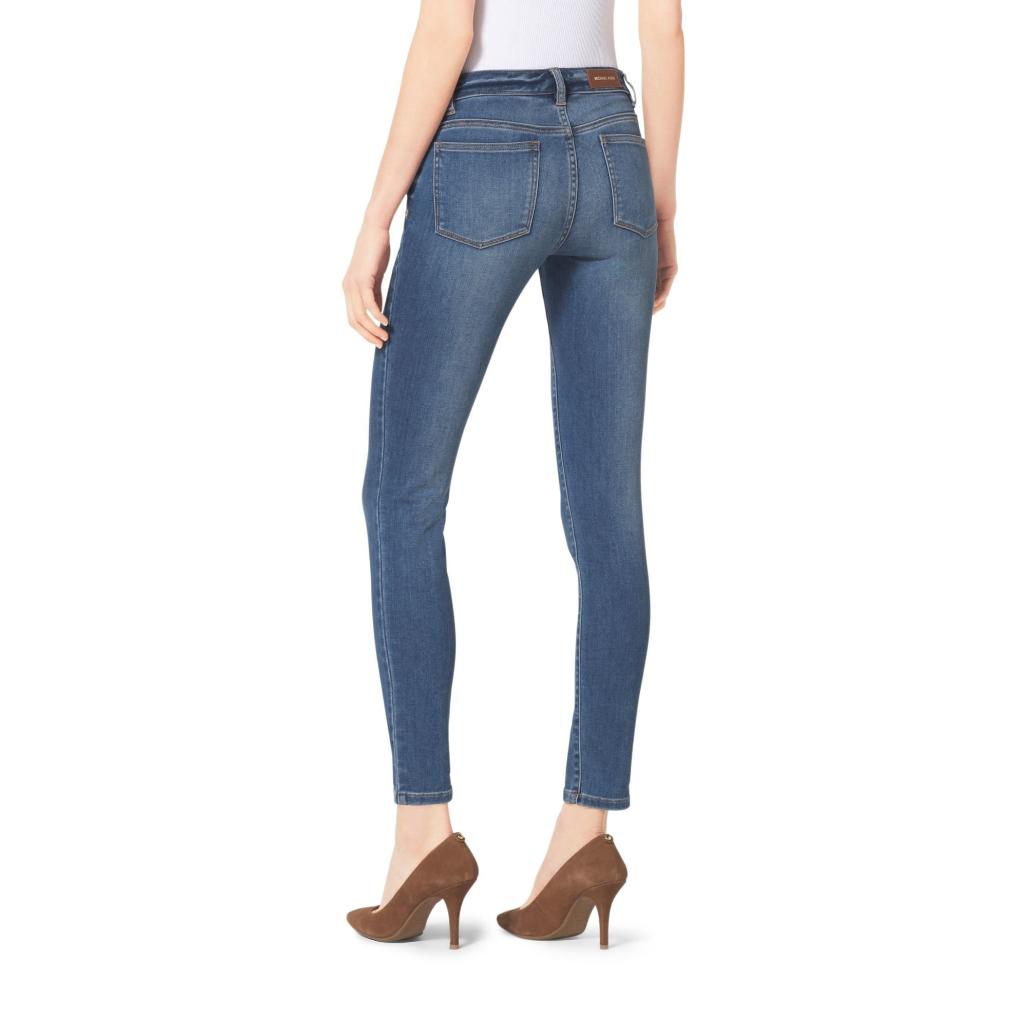 michael kors cropped skinny jeans in blue lyst. Black Bedroom Furniture Sets. Home Design Ideas