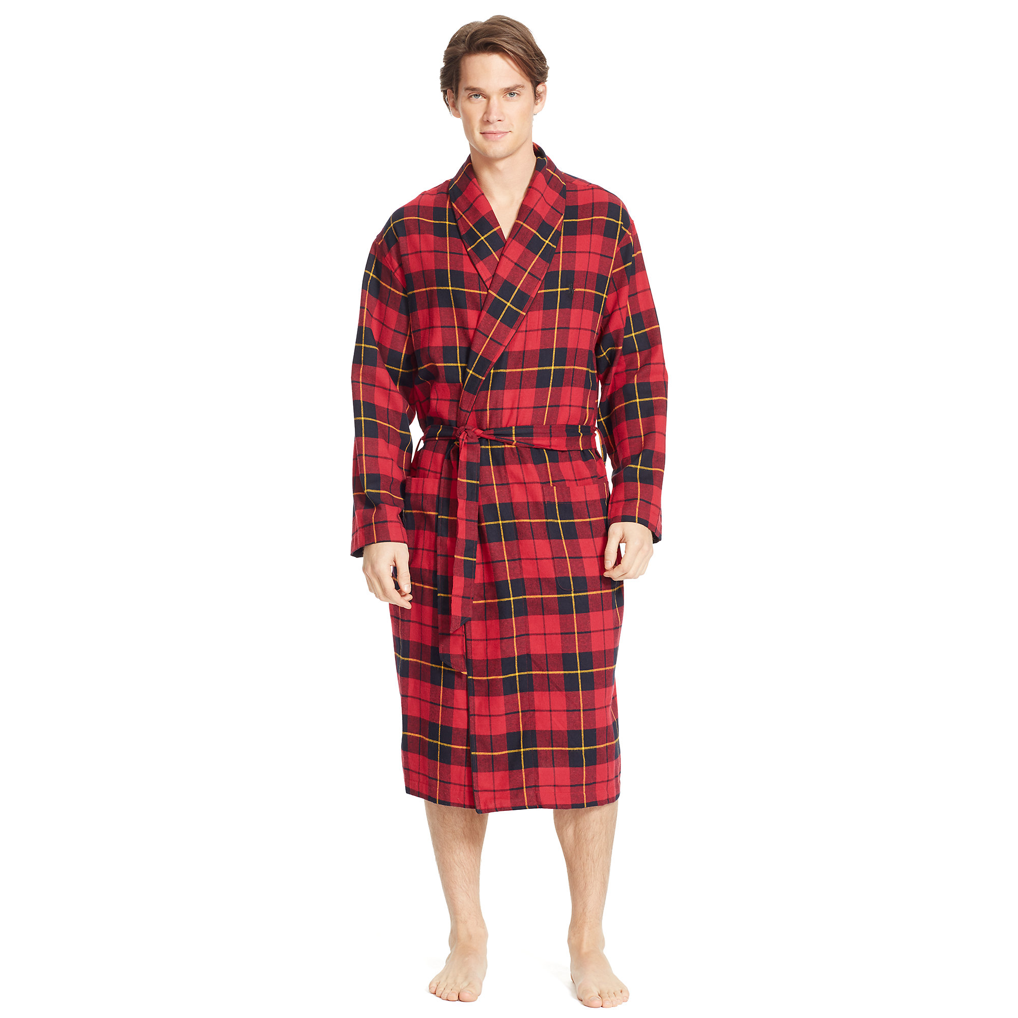 Lyst - Polo Ralph Lauren Bedford Plaid Flannel Robe in Red for Men