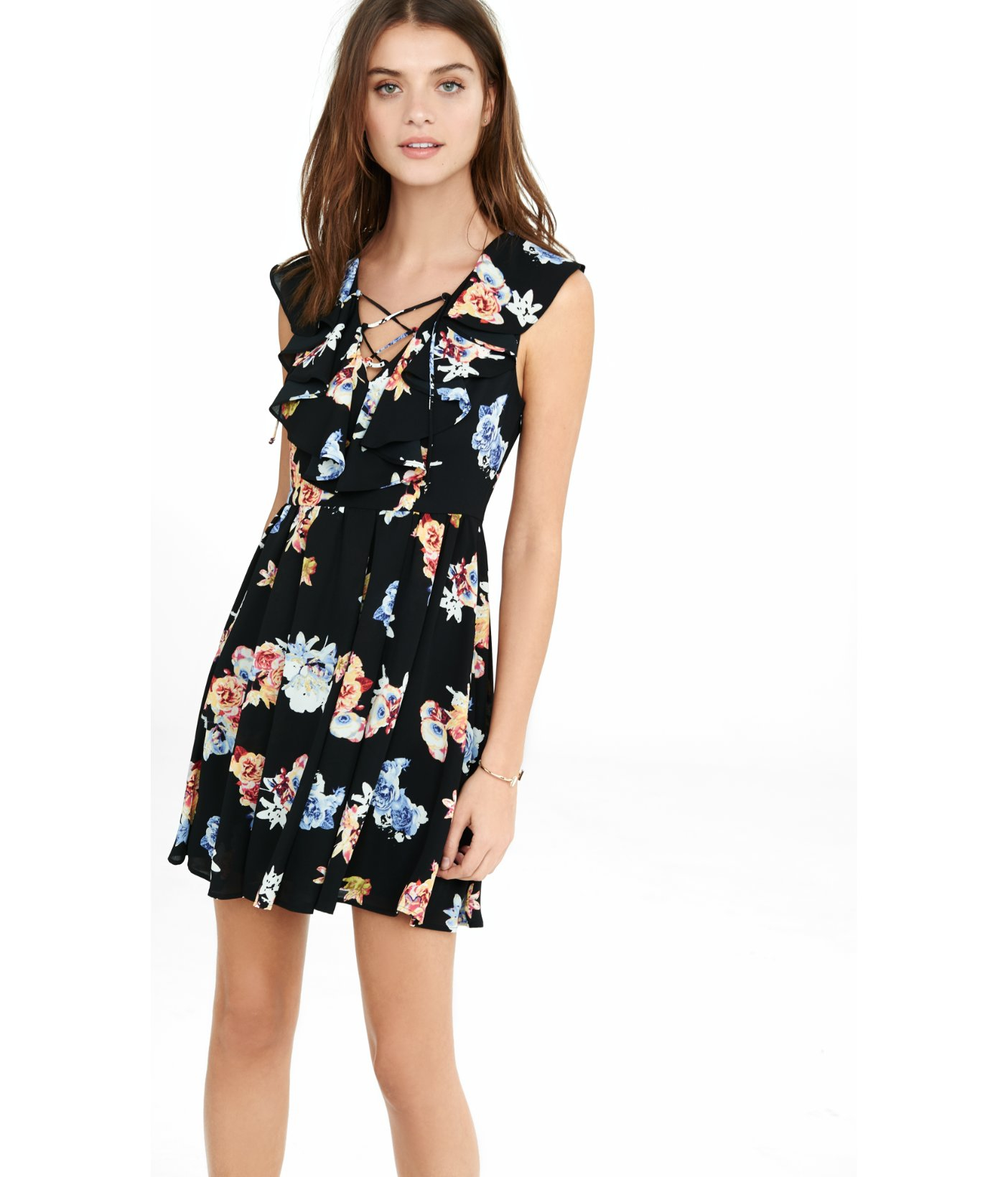 246bc18af4b5 Lyst - Express Floral Lace-up Ruffle Fit And Flare Dress