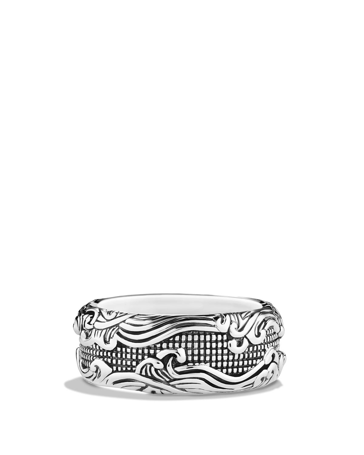 David Yurman Waves Wide Band Ring in Silver (Metallic) for Men
