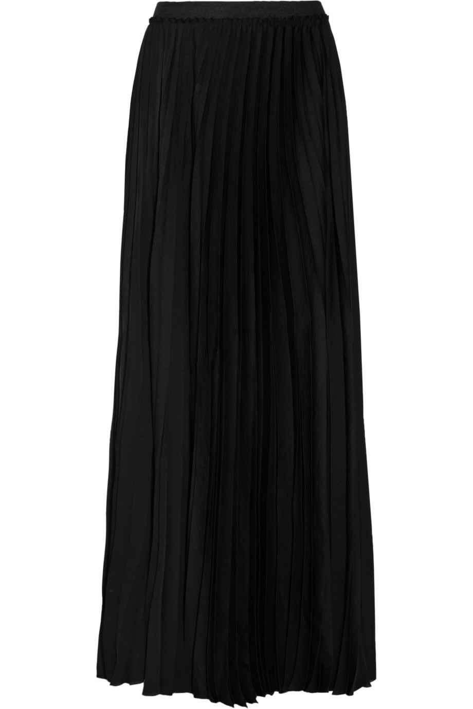 enza costa pleated satin maxi skirt in black lyst