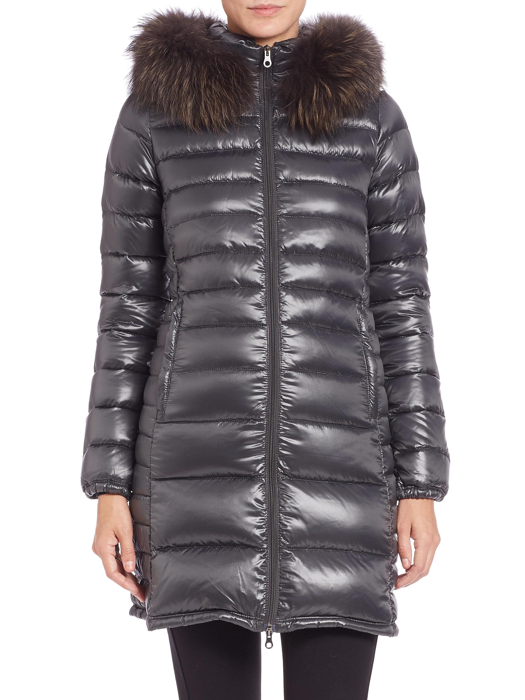 Lyst Duvetica Ociroe Fur Trimmed Puffer Coat In Gray