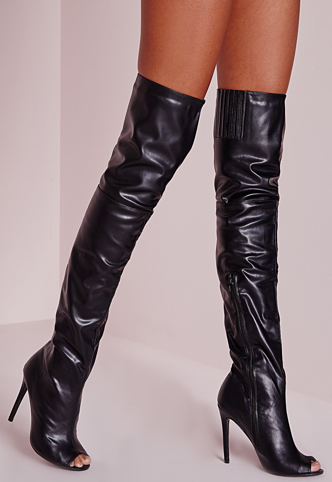 Missguided Peace   Love Over The Knee Faux Leather Peep Toe Boots ...