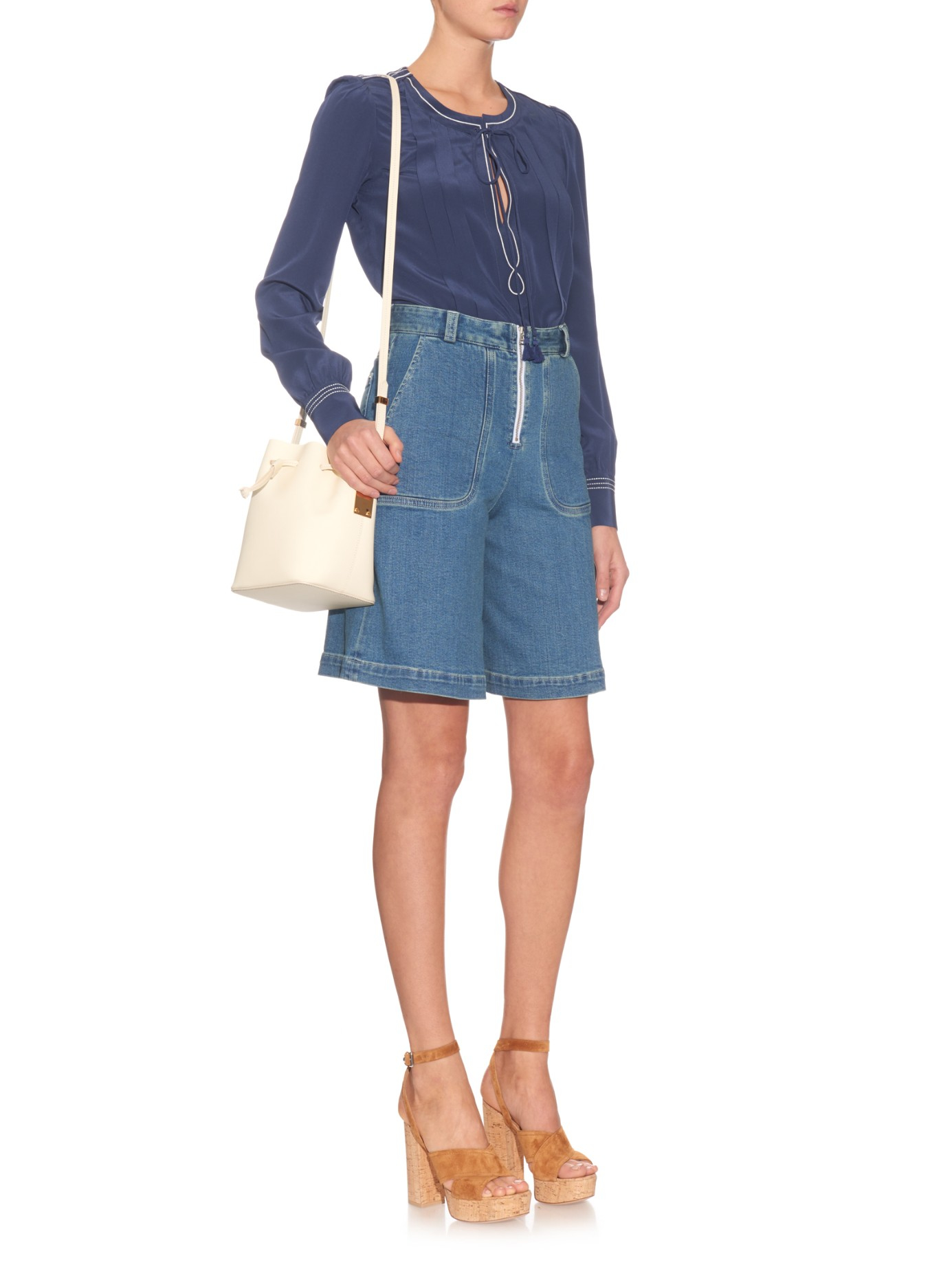 See by chloé Wide-leg Denim Shorts in Blue | Lyst