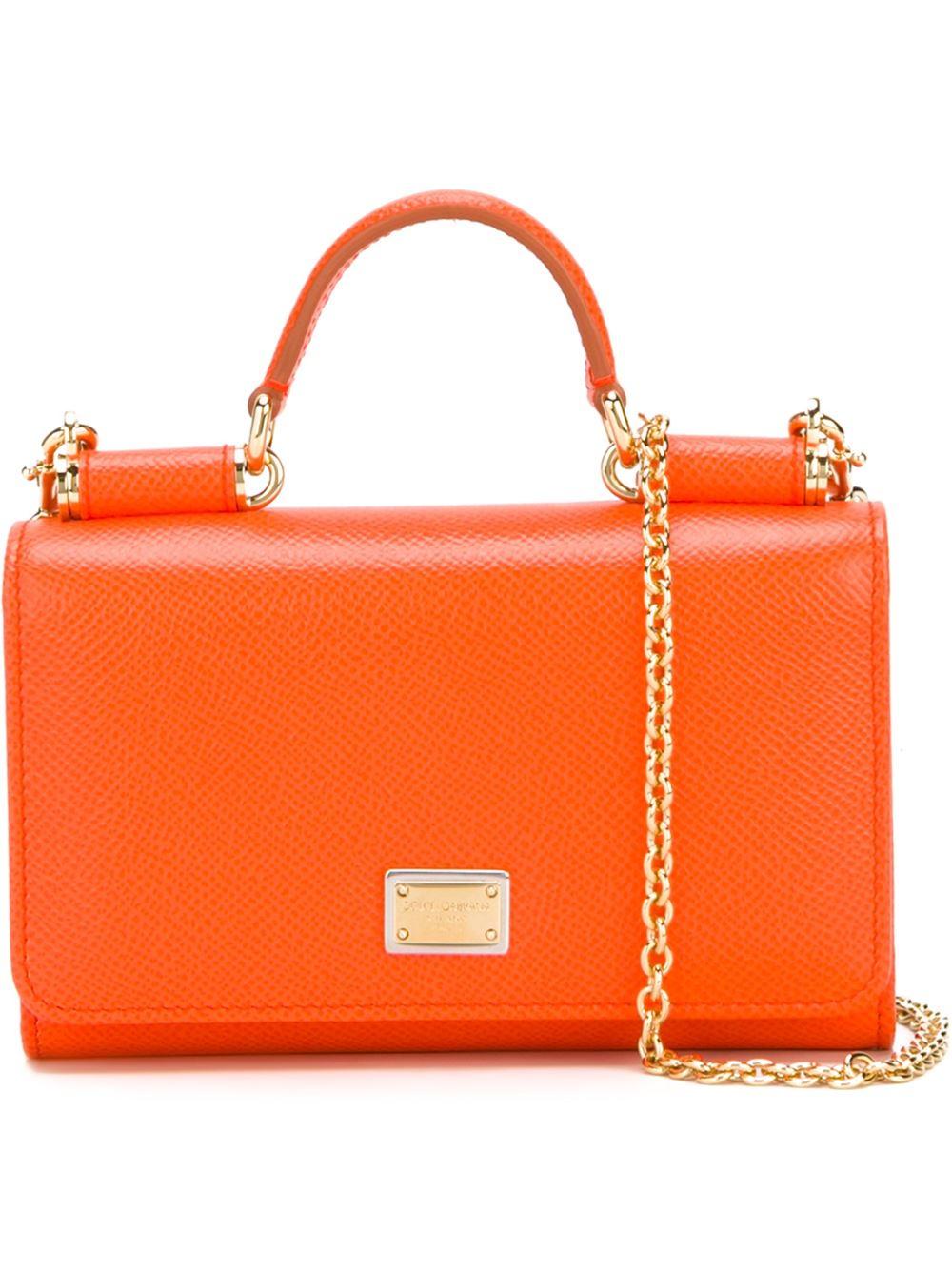 Lyst - Dolce   Gabbana Mini Phone Bag With Chain in Orange 21b0601b814e3