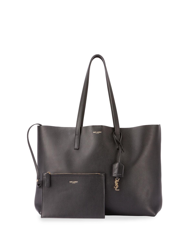 saint laurent large east west leather shopper bag in black. Black Bedroom Furniture Sets. Home Design Ideas