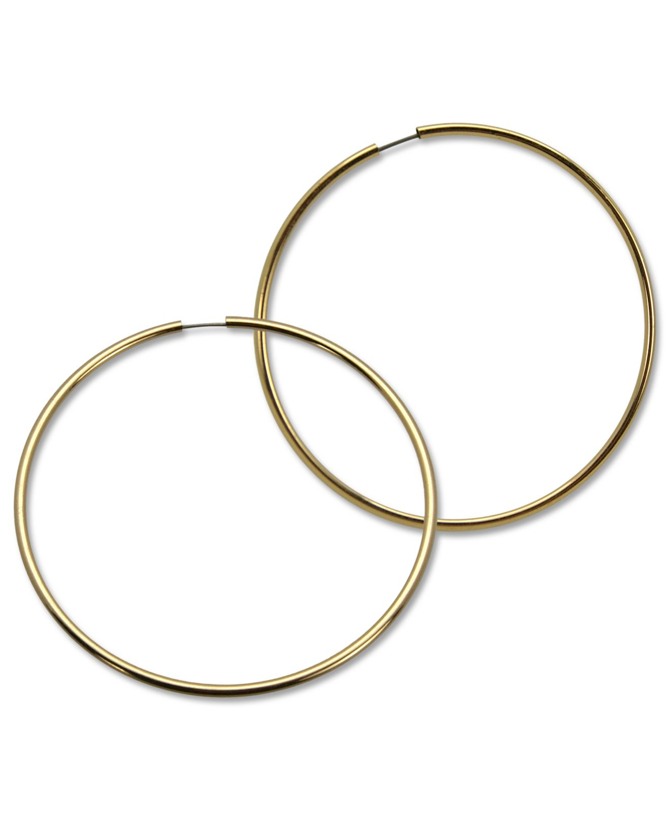 Guess Gold Tone Large Endless Hoop Earrings In Metallic Lyst