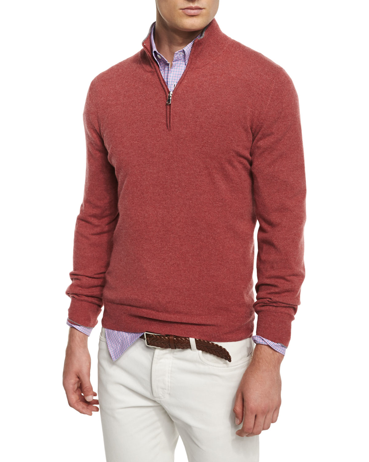 Brunello cucinelli Cashmere-blend Half-zip Sweater in Red for Men ...