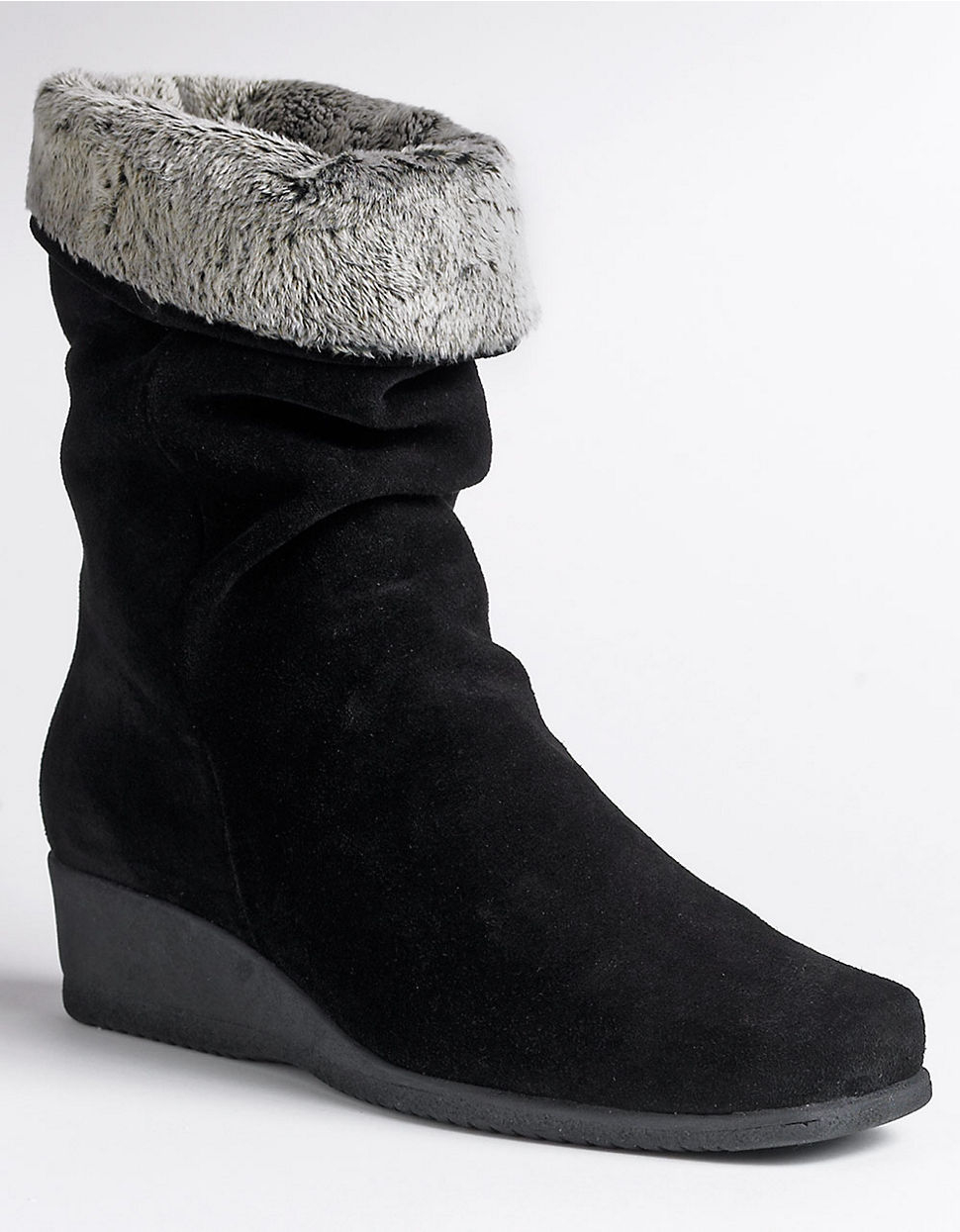 la canadienne fancy faux fur trimmed suede wedge boots in