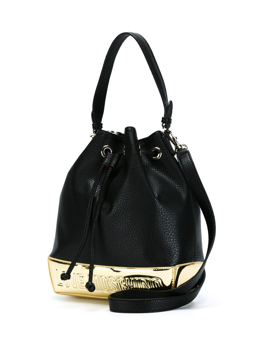 love moschino embossed logo leather bucket bag in black lyst. Black Bedroom Furniture Sets. Home Design Ideas