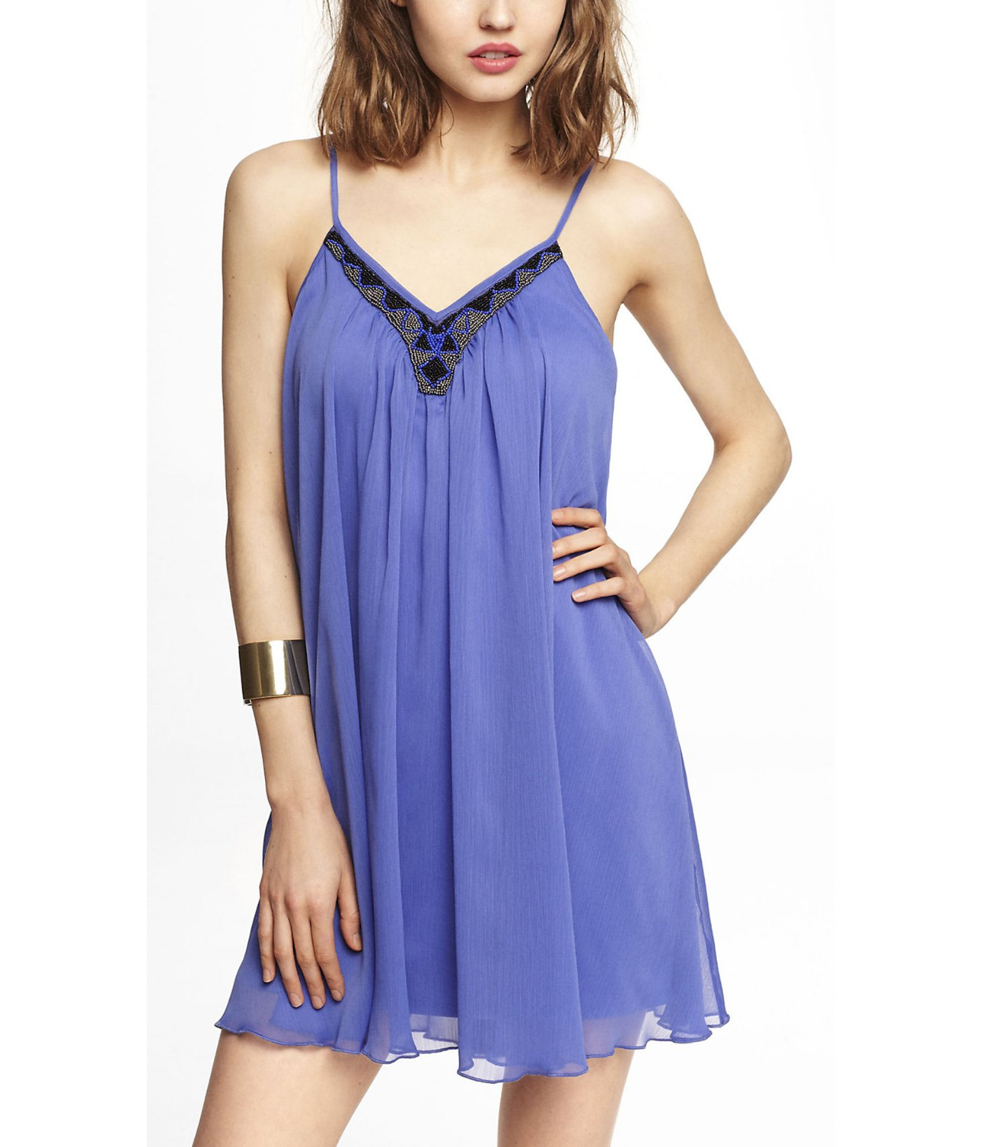 Lyst - Express Beaded V-neck Trapeze Dress in Blue
