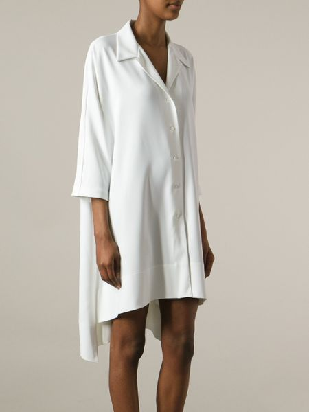 mantu loose fit shirt dress in white lyst