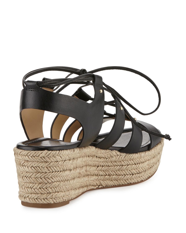 fbc1c9b38e16 MICHAEL Michael Kors Sofia Lace-up Mid-wedge Sandal in Natural - Lyst
