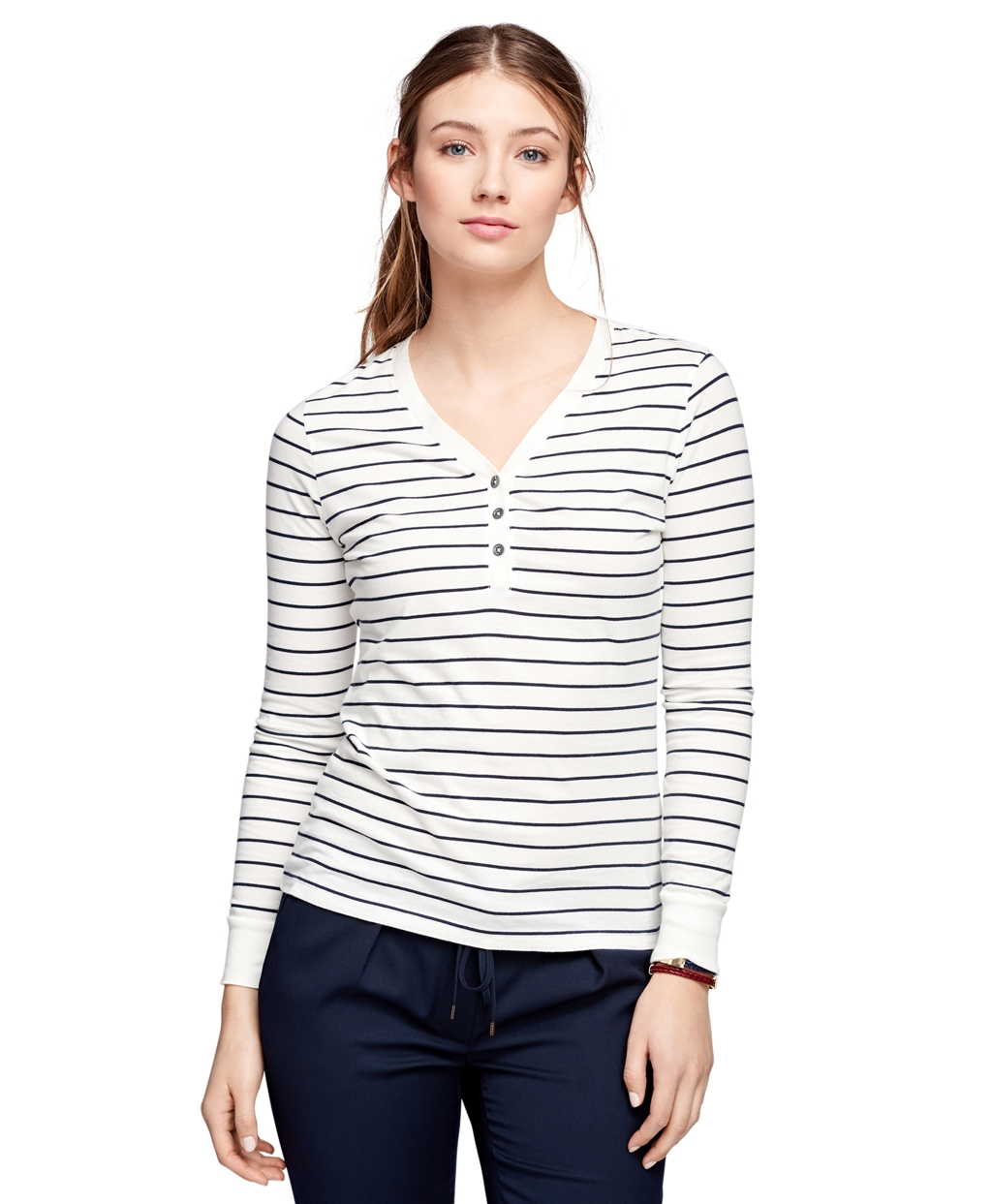 Shop online for L&L Striped Henley T-Shirt. Find Tops & Blouses, Clothing and more at Additionelle Bought in the Black & White, and Sea Turtle, which is white with olive green stripes and trim. Love the fit in my usual size 3X. I am rather large busted and it fits me perfectly. Also love the 3/4 sleeves, the button front, and shirt bottom.