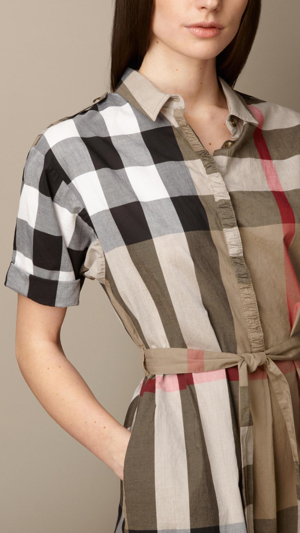 Burberry Tiewaist Check Shirt Dress In Brown Pale