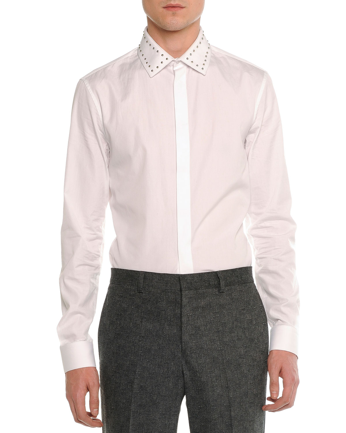 Lyst Givenchy Studded Collar Long Sleeve Shirt In White