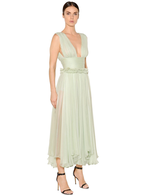 Lyst Maria Lucia Hohan Kamalame Silk Chiffon Midi Dress