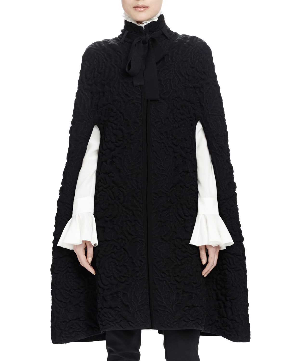 Knitting Pattern Chunky Cape : Alexander mcqueen Chunky Quilted-knit Long Cape in Black Lyst