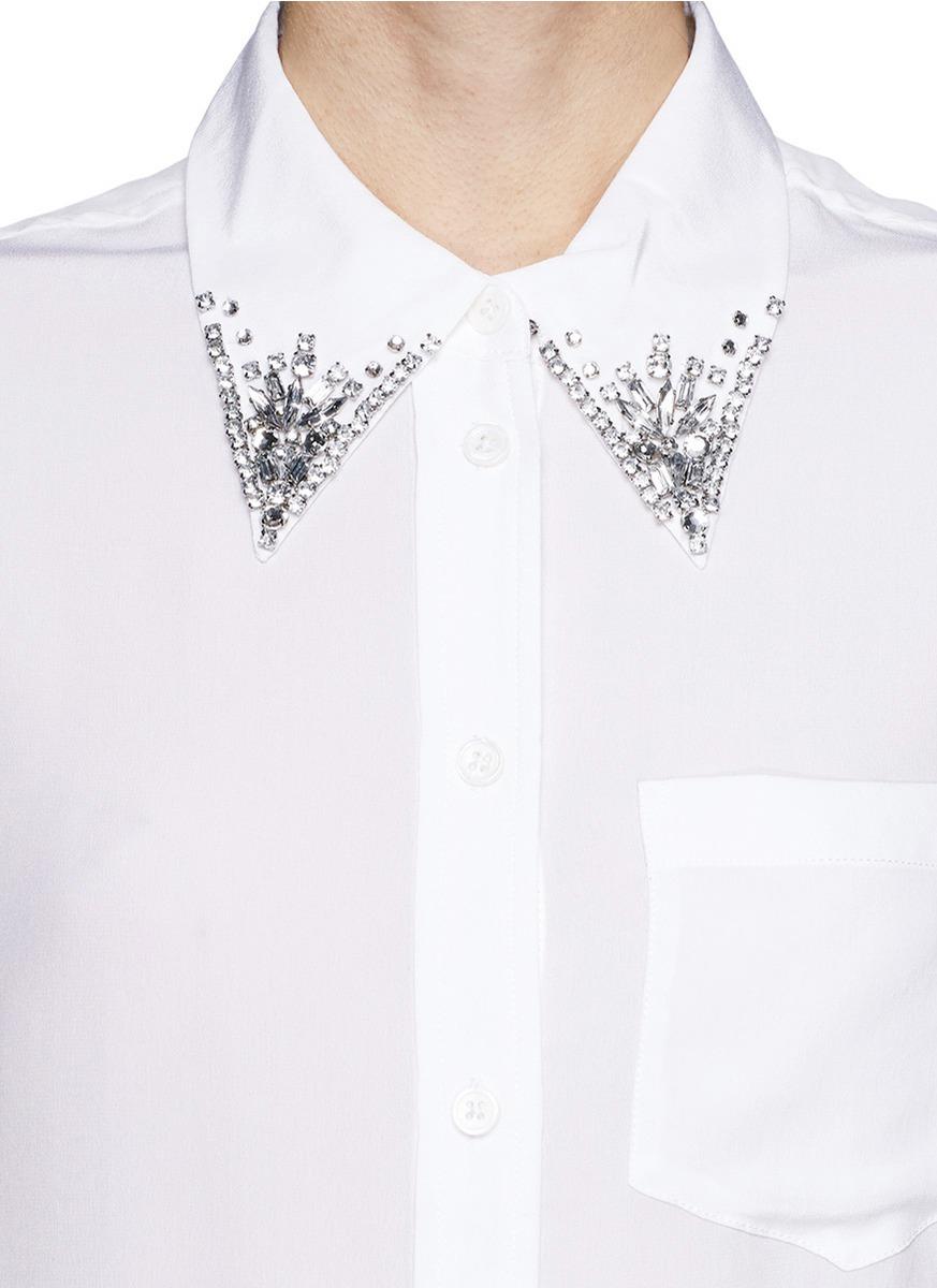 Equipment Reese Jewel Collar Silk Shirt In White Lyst