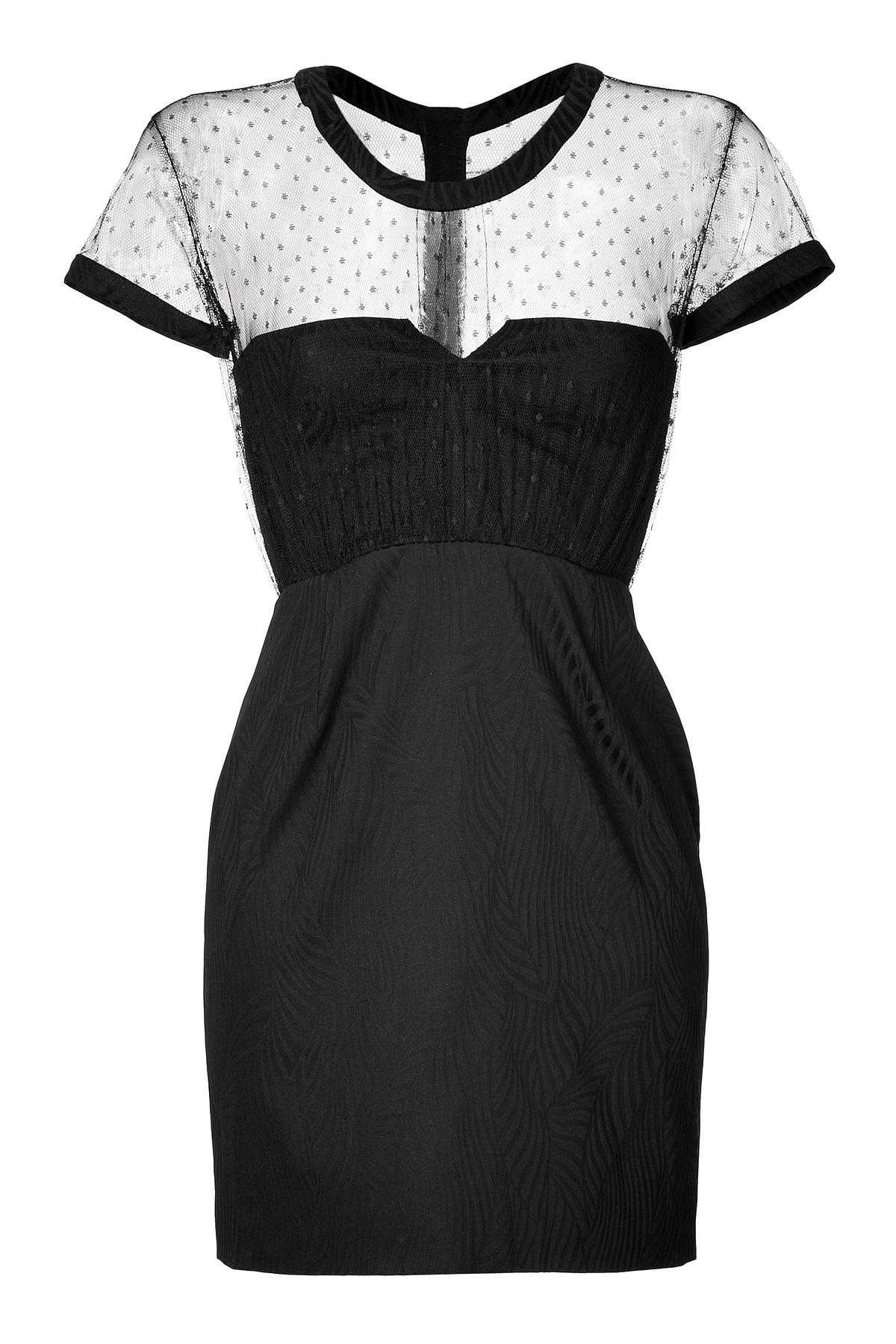 The Kooples Short Sleeve Dress With Sheer Dotted Swiss Top
