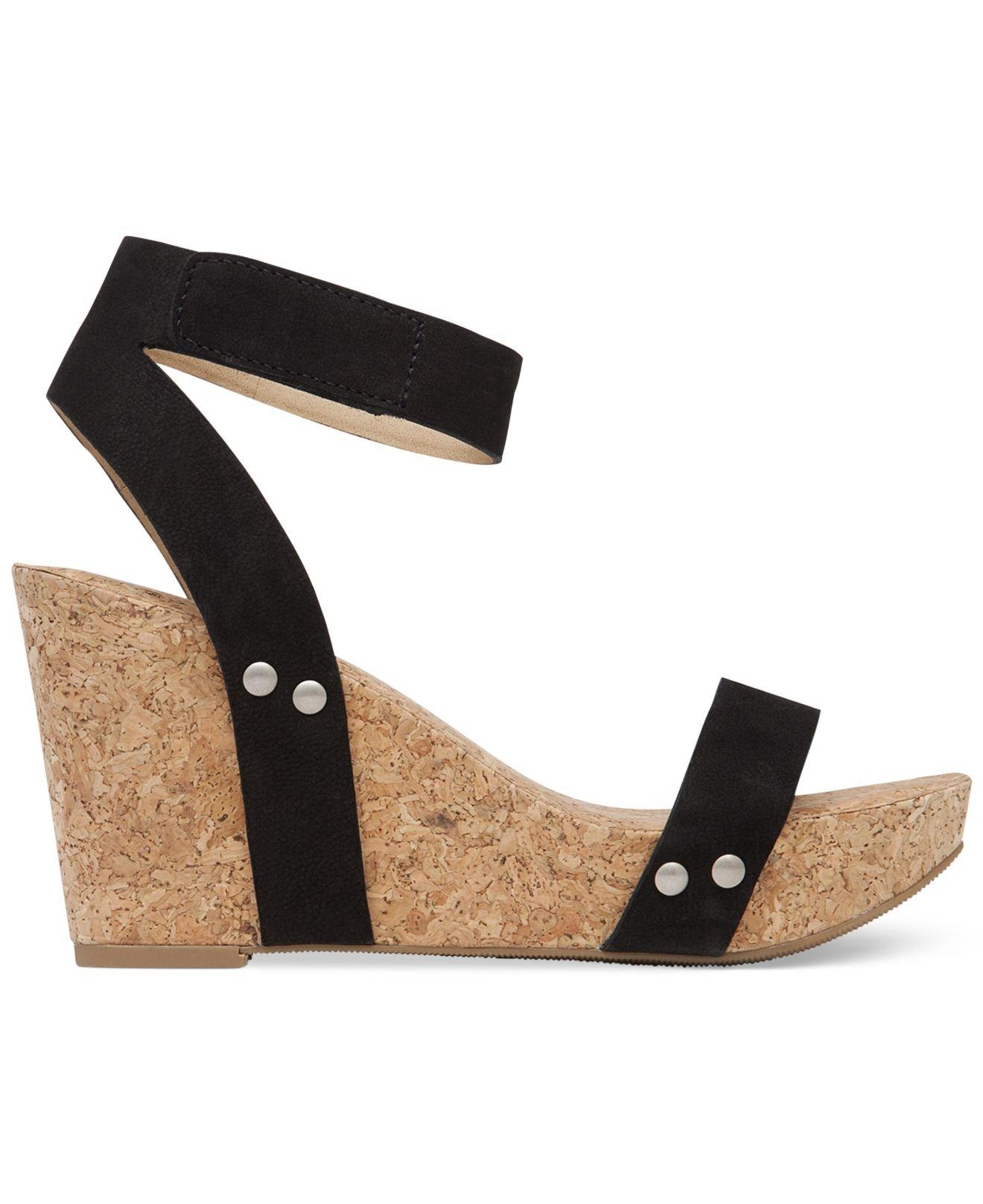 4a0f39b23563 Lyst - Lucky Brand Women s Mcdowell Cork Platform Wedge Sandals in Black