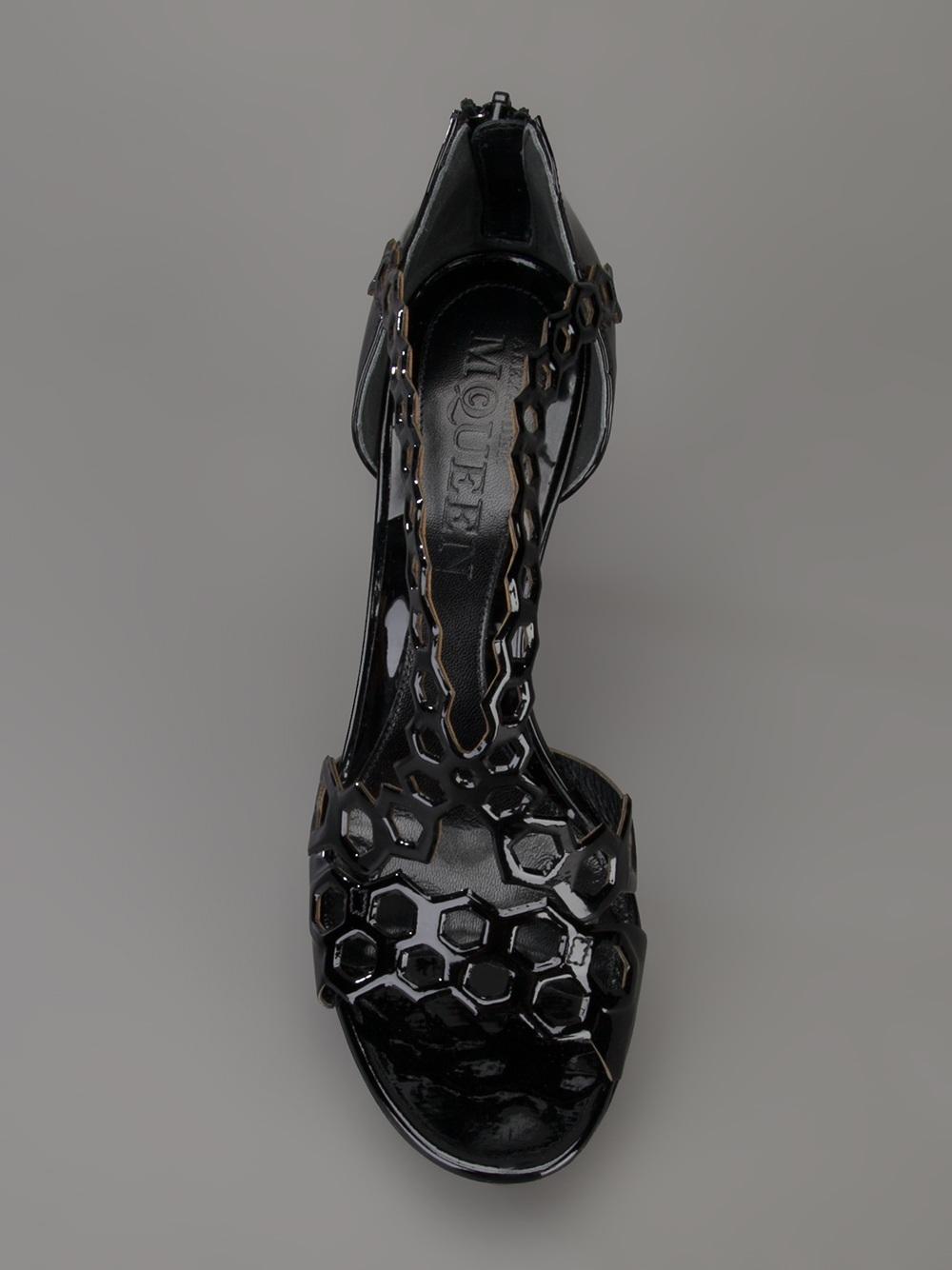 Lyst Alexander Mcqueen High Heel Sandal In Black