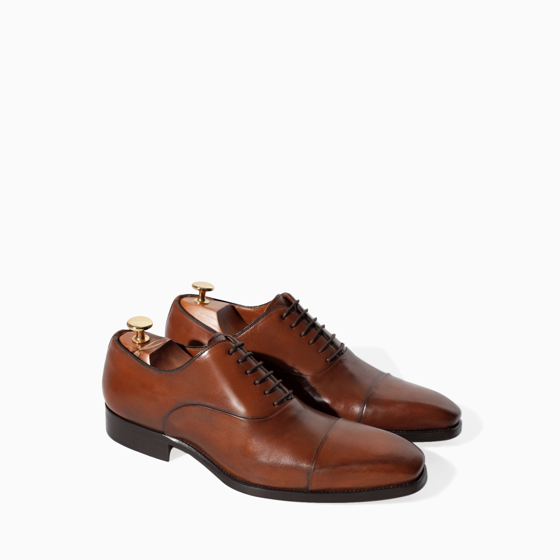 zara limited edition leather oxford shoe in brown for