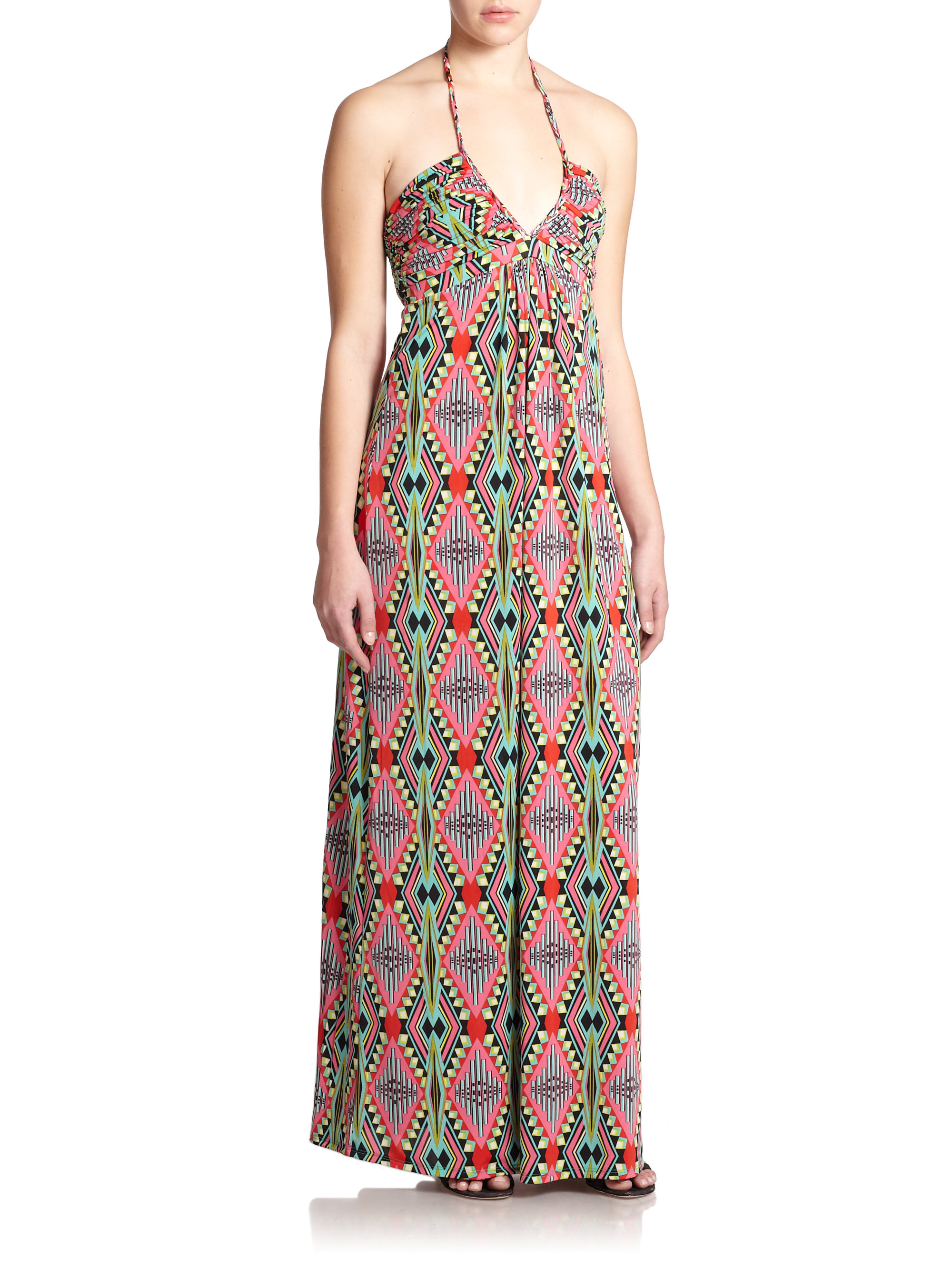 T Bags Printed Stretch Jersey Halter Maxi Dress Lyst