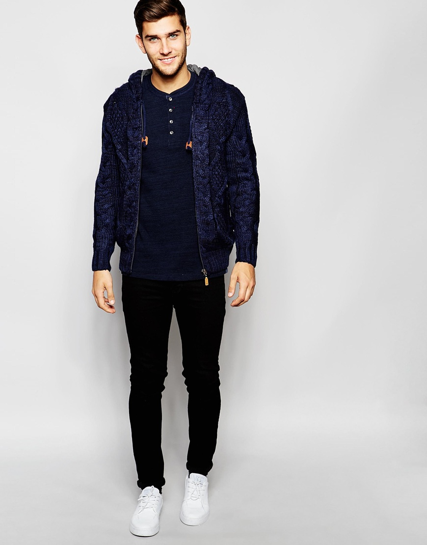 Blend Hooded Cardigan Jersey Lined Heavy Cable Knit in Blue for ...