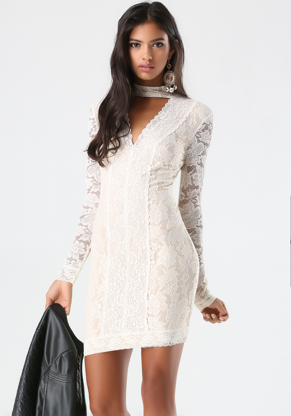 761e360335 Lyst - Bebe Lace Panel Mock Neck Dress in Natural
