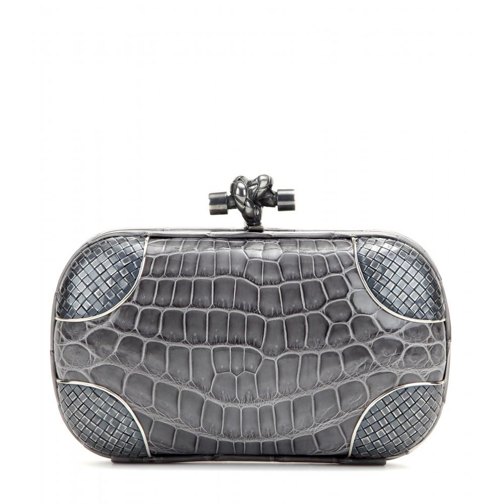 Bottega Veneta Knot Crocodile Leather Clutch Bag in Gray - Lyst 5bc24c7a962db