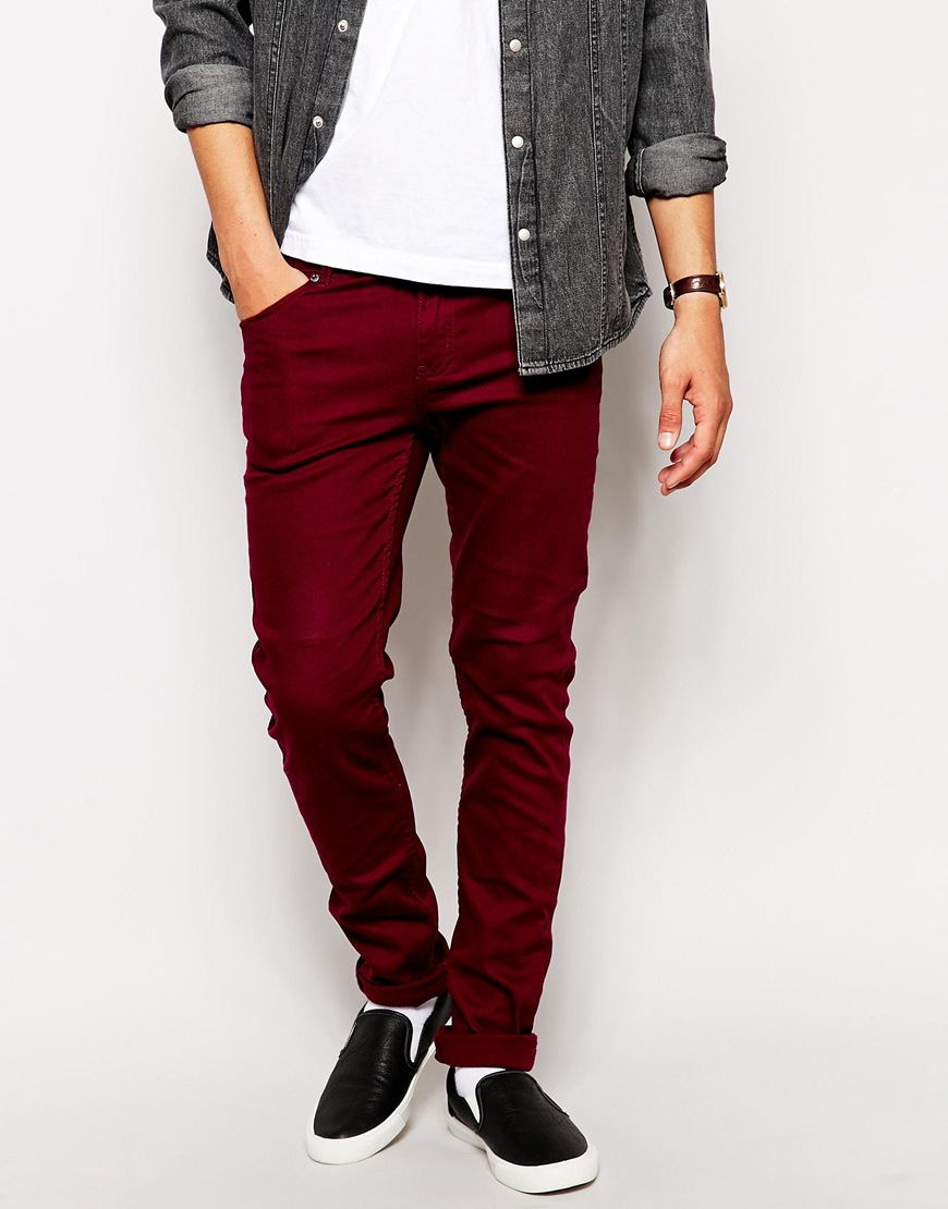 Cheap monday Jeans Tight in Red for Men | Lyst