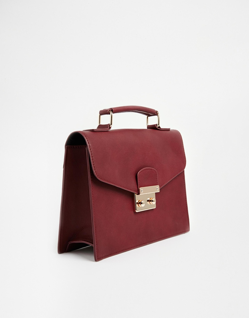 asos colourblock clean satchel bag in purple oxblood lyst