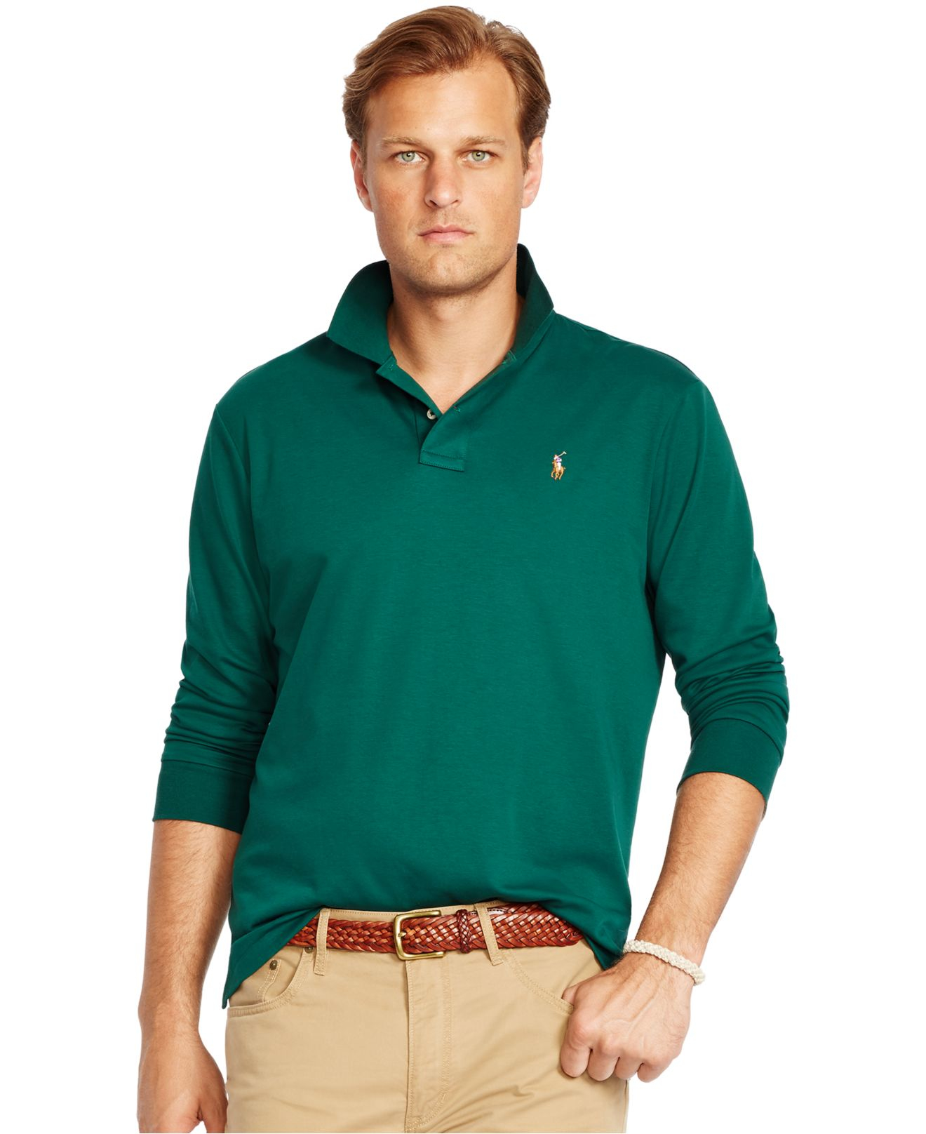 Polo ralph lauren big and tall long sleeved pima soft for Big and tall men s long sleeve polo shirts
