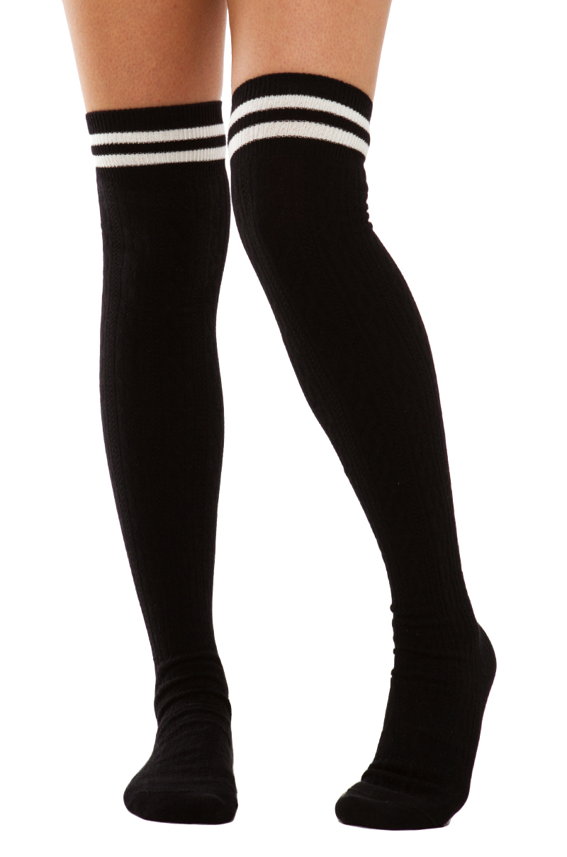 Akira Thighs The Limit Athletic Thigh High Black Socks In