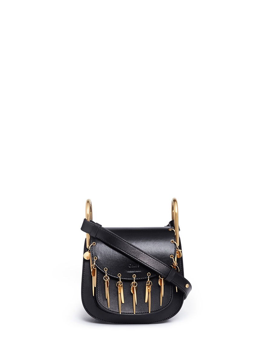 df893a35b0c33 Chloé 'hudson' Mini Charm Leather Saddle Bag in Black - Lyst