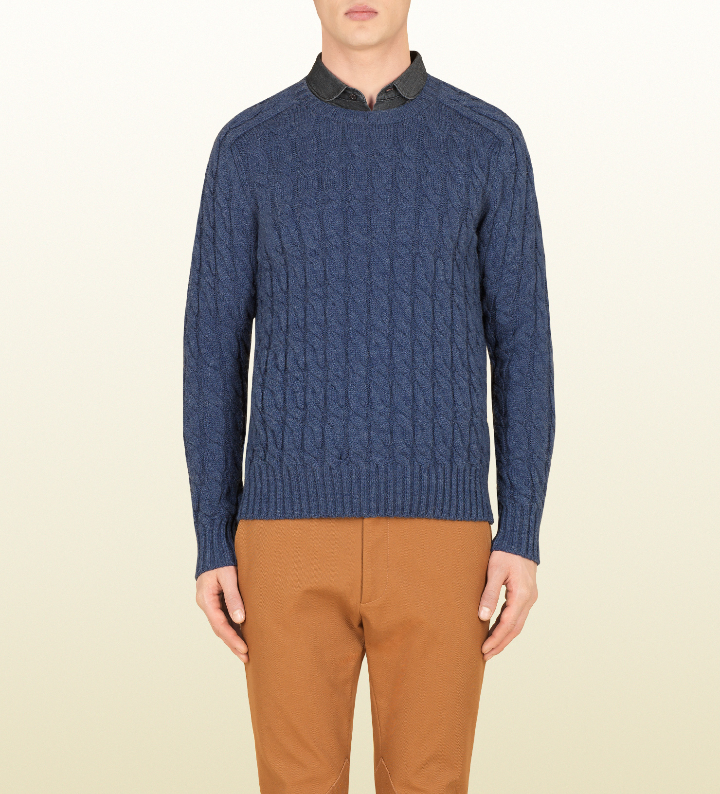 Gucci Light Blue Cable Knit Sweater in Blue for Men | Lyst