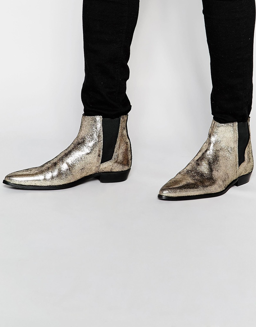 ASOS Leather Chelsea Boots In Metallic