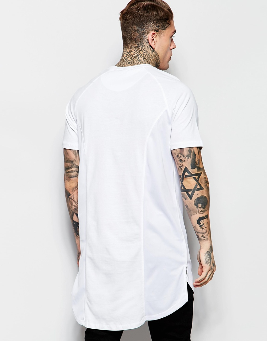 lyst criminal damage verse long line t shirt in white. Black Bedroom Furniture Sets. Home Design Ideas
