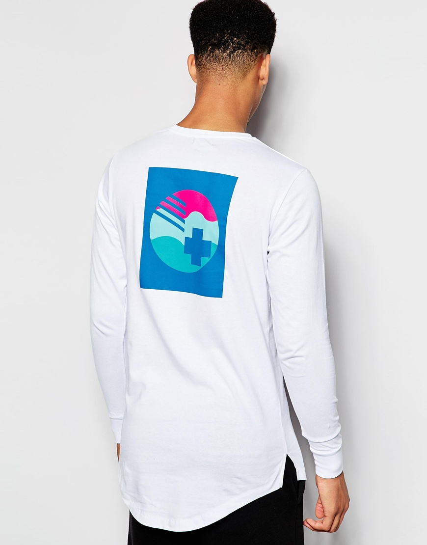 Pink dolphin long sleeve t shirt with back print in white for Mens pink long sleeve shirt
