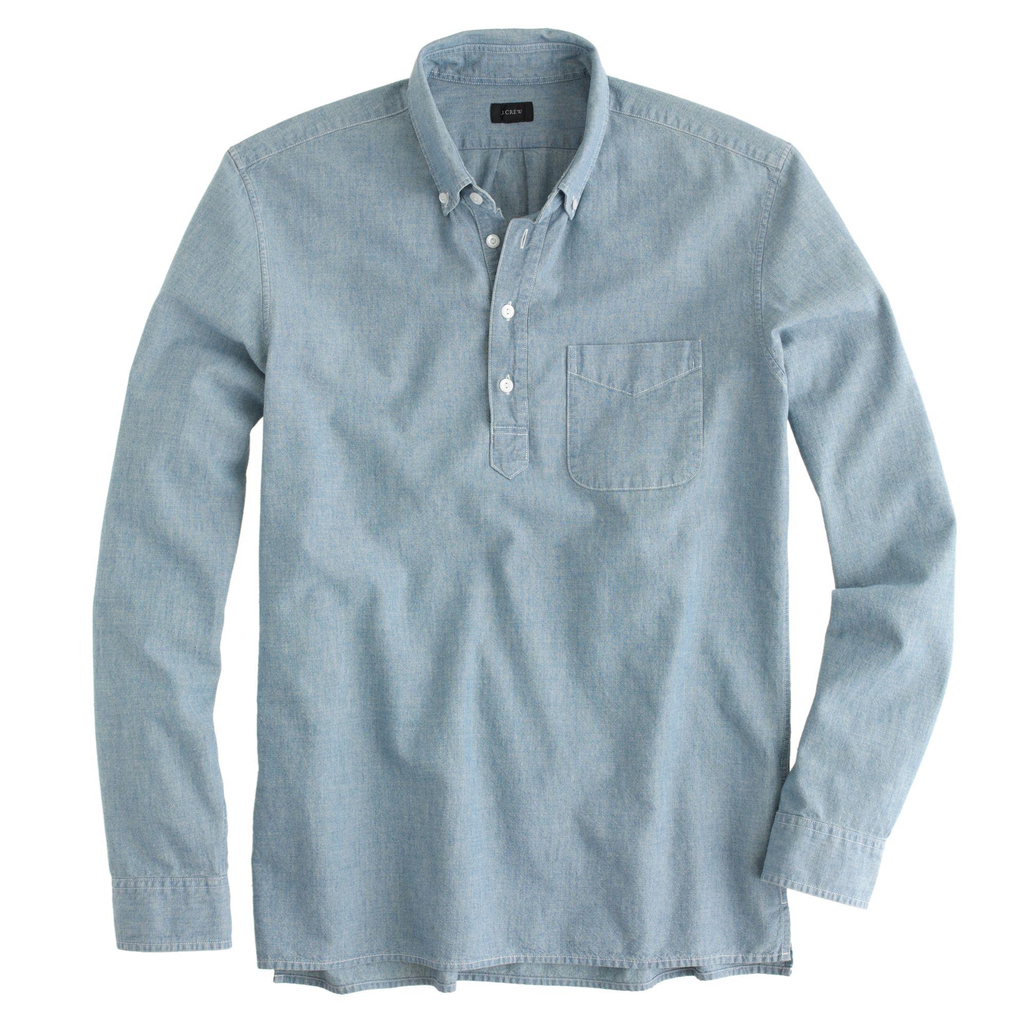 Japanese chambray popover shirt in blue for men for Jcrew com