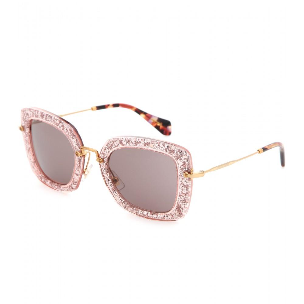 a633670cb83f Miu Miu Glitter Square Sunglasses in Pink - Lyst
