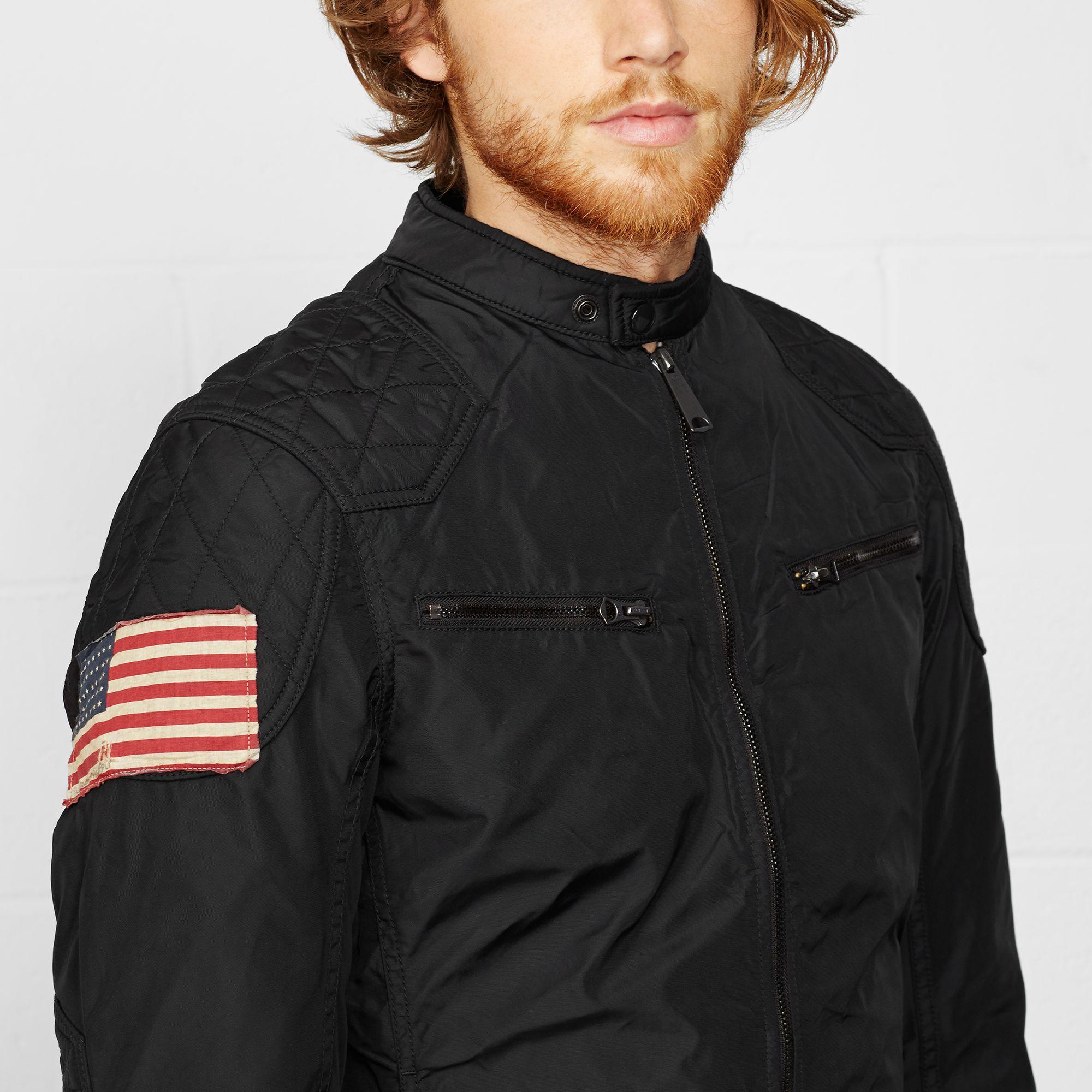 Lyst Denim Amp Supply Ralph Lauren Wax Nylon Moto Jacket